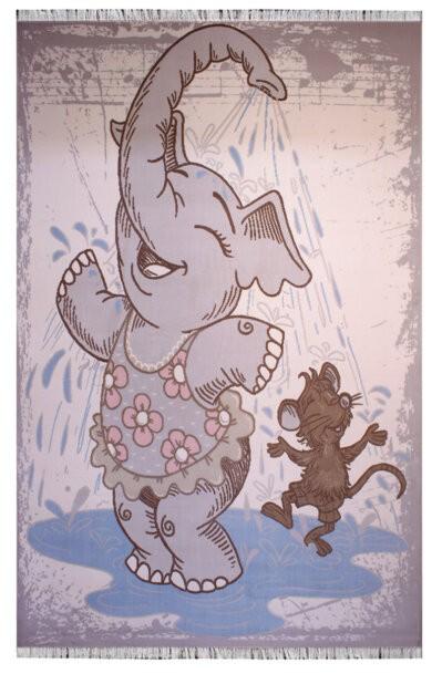 فرش ماشینی اتاق کودک طرح فیل کد 317