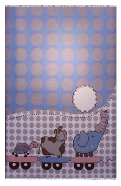 فرش ماشینی اتاق کودک طرح فیل و گاو کد 110