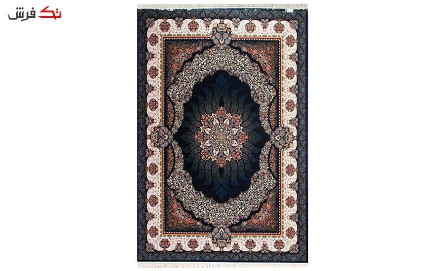 فرش ماشینی طرح سودا زمینه سرمه ای