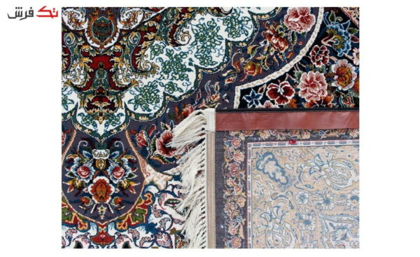 فرش ماشینی طرح آرزو زمینه سرمه ای