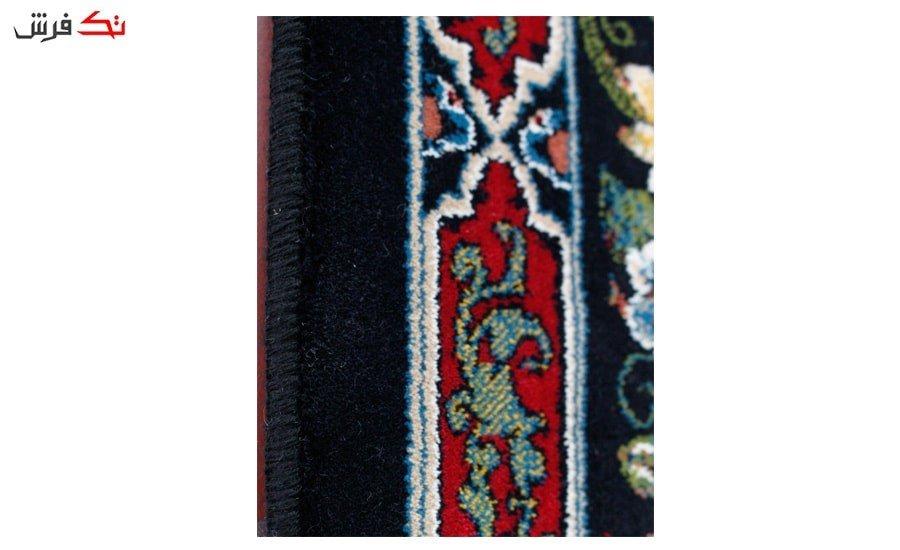 فرش ماشینی طرح باغ ارم زمینه سرمه ای