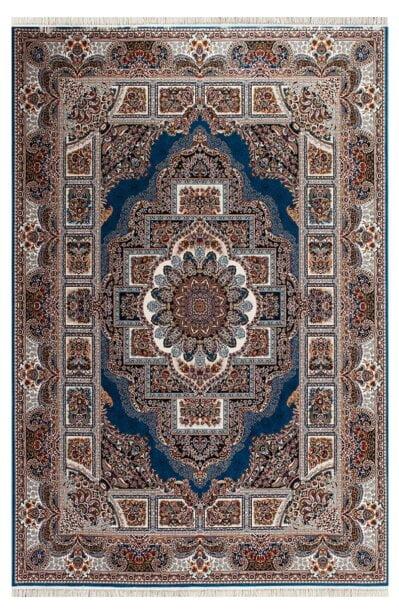 فرش ماشینی طرح حوض نقره زمینه آبی