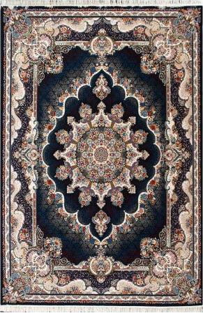 فرش ماشینی طرح نیلی زمینه سرمه ای