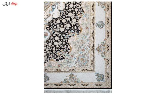 فرش ماشینی سلیمان صباحی طرح سپهر سرمه ای گل برجسته