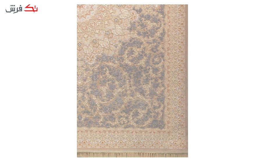 فرش ماشینی شاهکار آریایی طرح 384 نسکافه ای گل برجسته