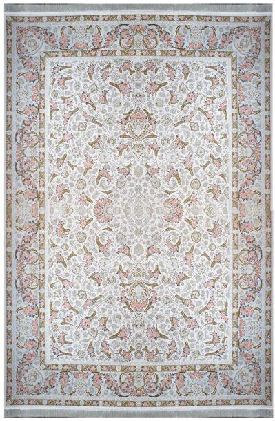 فرش ماشینی سلیمان صباحی طرح گل فرنگ صدفی گل برجسته