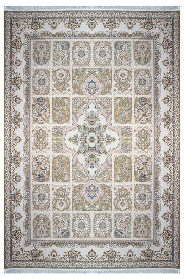 فرش ماشینی سلیمان صباحی طرح سروش نسکافه ای گل برجسته