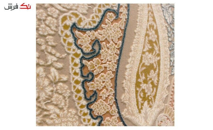 فرش ماشینی شاهکار آریایی طرح 324 نسکافه ای گل برجسته