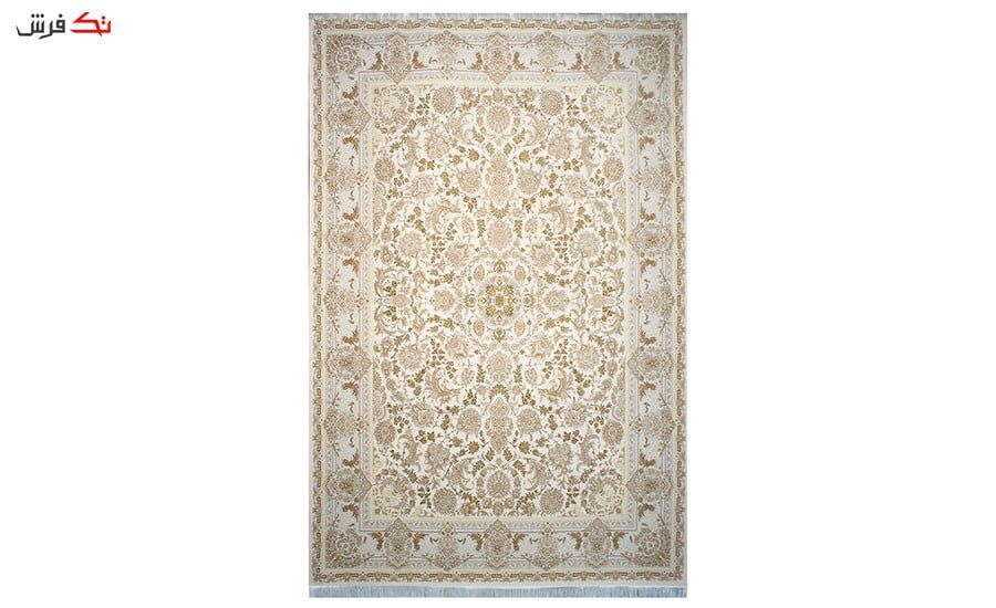 فرش ماشینی سلیمان صباحی طرح بهشت کرم گل برجسته