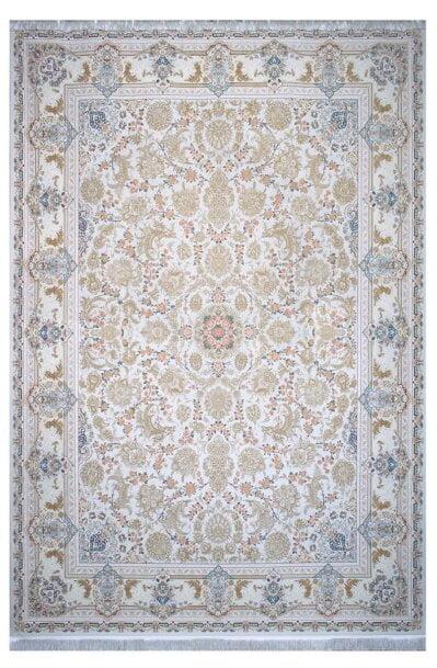 فرش ماشینی سلیمان صباحی طرح بهشت صدفی گل برجسته