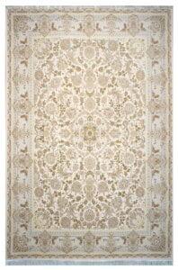فرش ماشینی سلیمان صباحی طرح بهشت کرم پنج رنگ گل برجسته