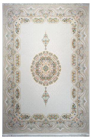 فرش ماشینی سلیمان صباحی طرح هالیدی صدفی گل برجسته