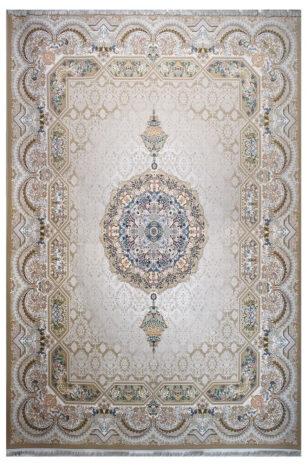 فرش ماشینی سلیمان صباحی طرح هالیدی نسکافه ای گل برجسته