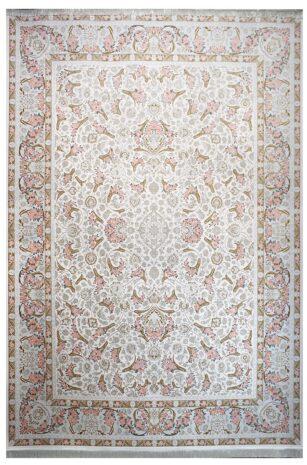 فرش ماشینی سلیمان صباحی طرح گل فرنگ کرم گل برجسته