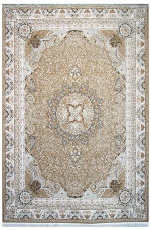فرش ماشینی سلیمان صباحی طرح نازگل نسکافه ای گل برجسته