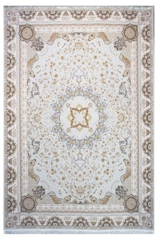 فرش ماشینی سلیمان صباحی طرح نازگل صدفی گل برجسته