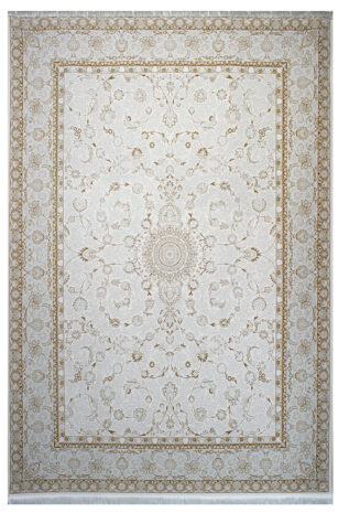 فرش ماشینی سلیمان صباحی طرح افشان کرم گل برجسته