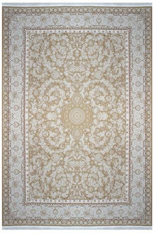 فرش ماشینی سلیمان صباحی طرح افشان نسکافه ای گل برجسته