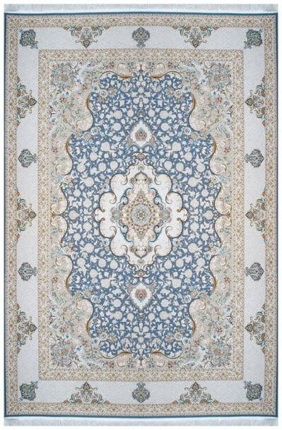 فرش ماشینی سلیمان صباحی طرح سپهر آبی درباری گل برجسته