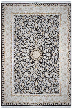 فرش ماشینی سلیمان صباحی طرح افشان سرمه ای گل برجسته