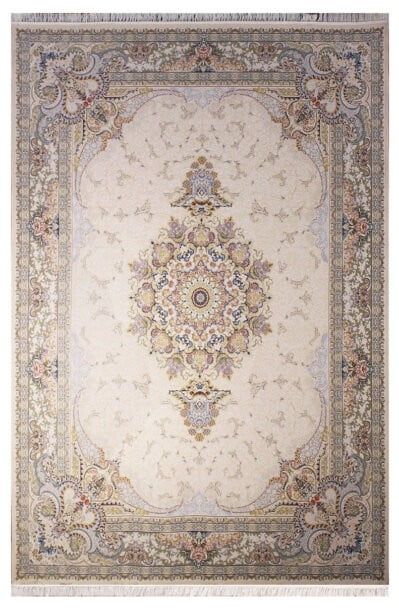 فرش ستاره آسمان کویر کد 2003 زمینه کاراملی گل برجسته