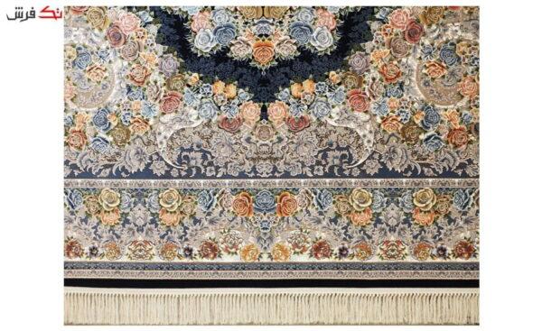 فرش ماشینی ارغوان طرح آرکان زمینه سرمه ای گل برجسته