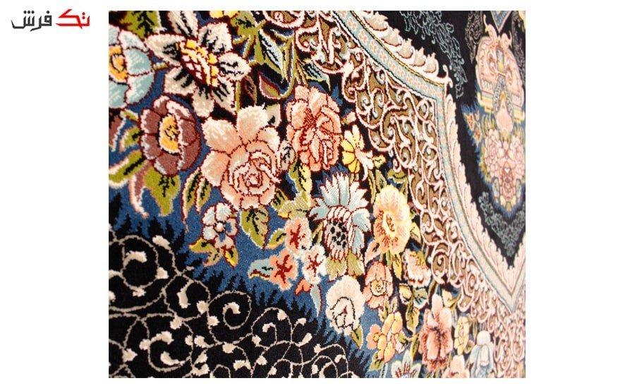 فرش ستاره آسمان کویر طرح باغ معلق زمینه سرمه ای
