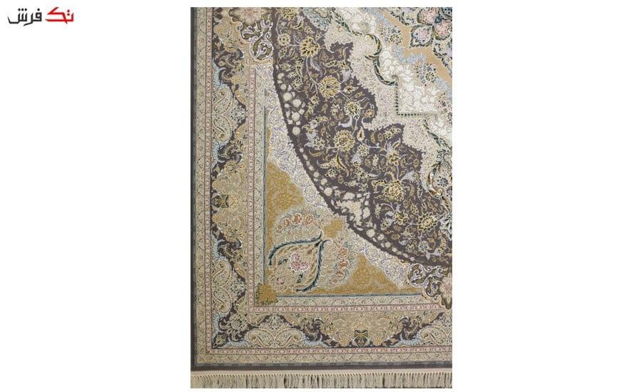 فرش ماشینی ارغوان کد 11616 زمینه خاکستری گل برجسته
