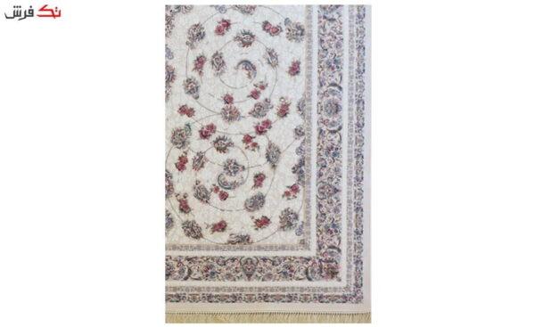 فرش ماشینی ارغوان کد 7110 زمینه کرم گل برجسته