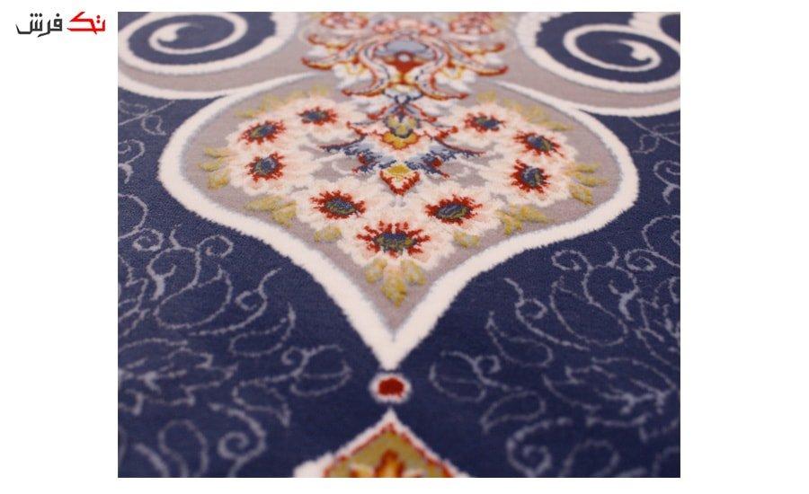فرش ستاره آسمان کویر طرح پگاه زمینه اطلسی گل برجسته