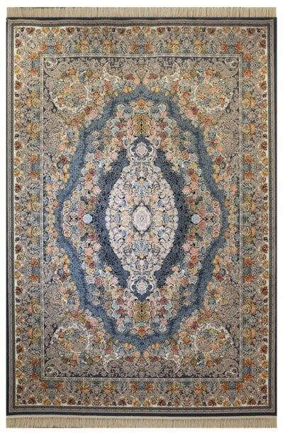 فرش ماشینی ارغوان طرح آرکان زمینه اطلسی گل برجسته