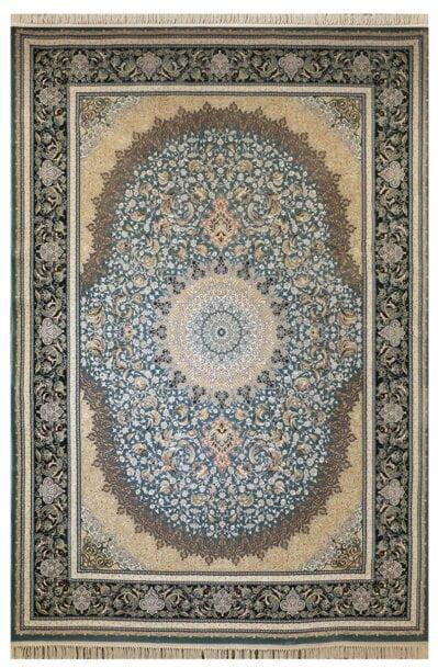 فرش ماشینی ارغوان کد 11605 زمینه آبی گل برجسته