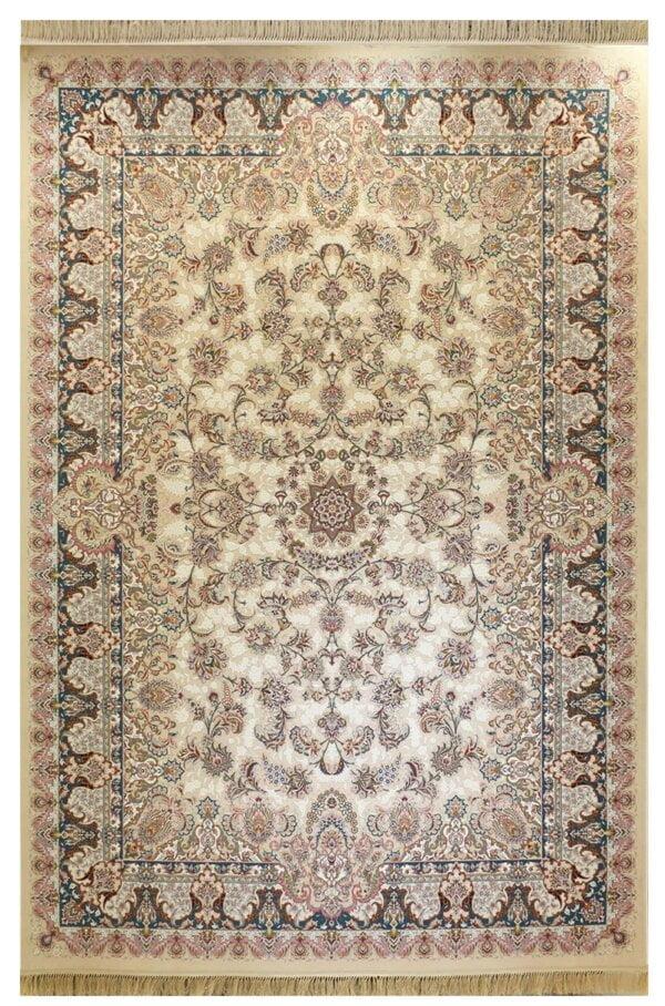 فرش ماشینی ارغوان کد 7101 زمینه کرم گل برجسته