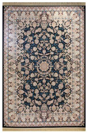 فرش ماشینی ارغوان کد 7101 زمینه سرمه ای گل برجسته