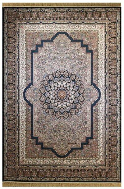 فرش ماشینی ارغوان کد 7111 زمینه سرمه ای گل برجسته