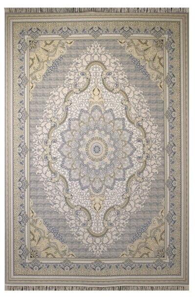 فرش ستاره آسمان کویر طرح 2001 زمینه نقره ای گل برجسته