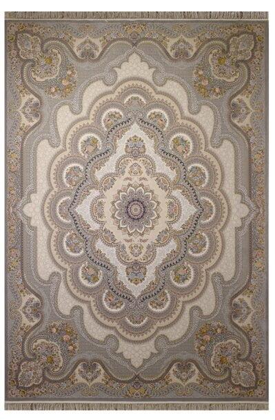فرش ستاره آسمان کویر طرح باغ ملک نقره ای گل برجسته