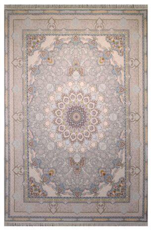 فرش ستاره آسمان کویر طرح 2002 زمینه نقره ای گل برجسته