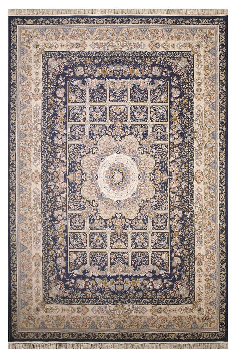 فرش ستاره آسمان کویر کد 2004 زمینه اطلسی گل برجسته