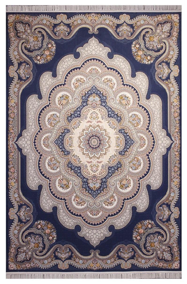 فرش ستاره آسمان کویر طرح باغ ملک زمینه اطلسی گل برجسته