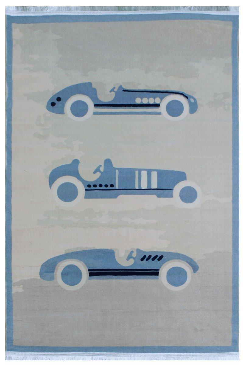 فرش کلکسیون کودک رنگ کرم - آبی , 1.5*1 متری