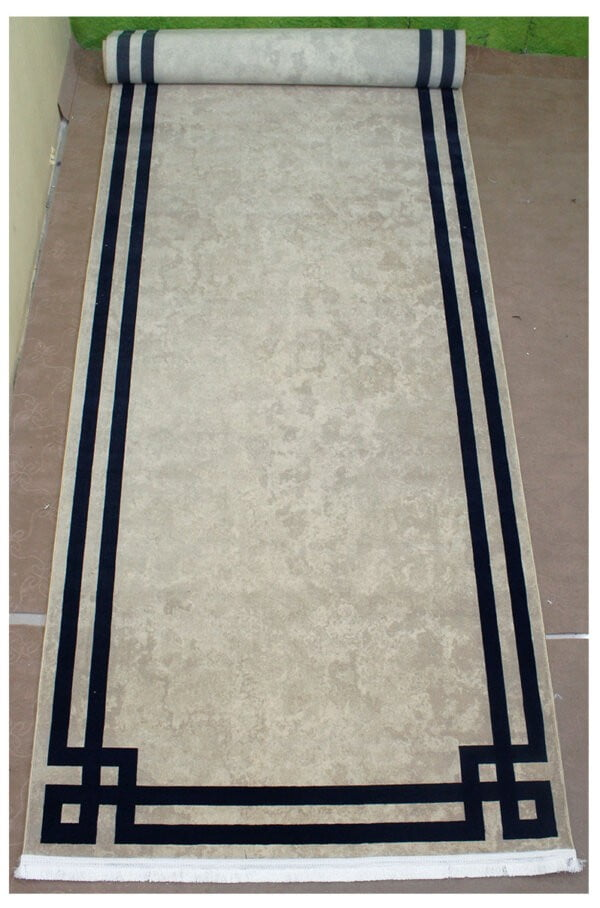فرش ماشینی کناره کلکسیون ورساچه رنگ کرم 1/20 * 4/45 متری
