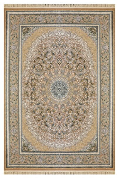 فرش ماشینی ارغوان کد 11605 زمینه بژ گل برجسته