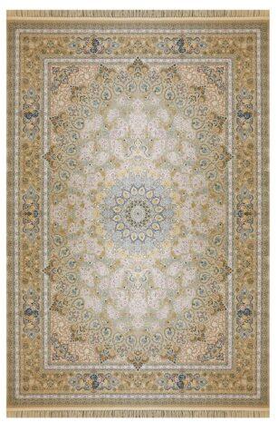 فرش ماشینی ارغوان کد 11604 زمینه بژ گل برجسته