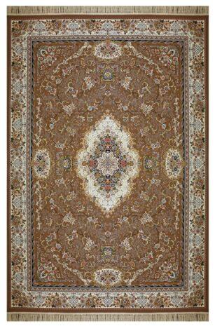 فرش ماشینی ارغوان طرح کاملیا زمینه نسکافه ای گل برجسته