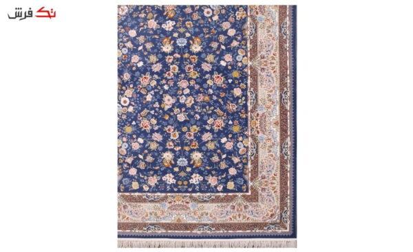 فرش ستاره آسمان کویر طرح کیمیای سعادت زمینه اطلسی گل برجسته