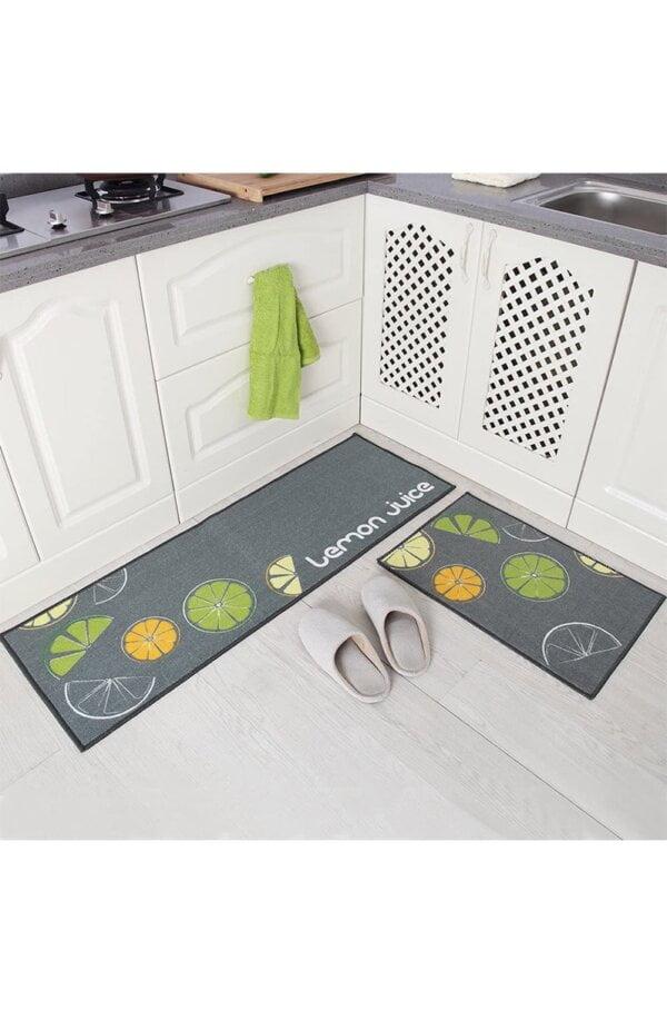 فرش ماشینی آشپزخانه کد K0012 زمینه طوسی