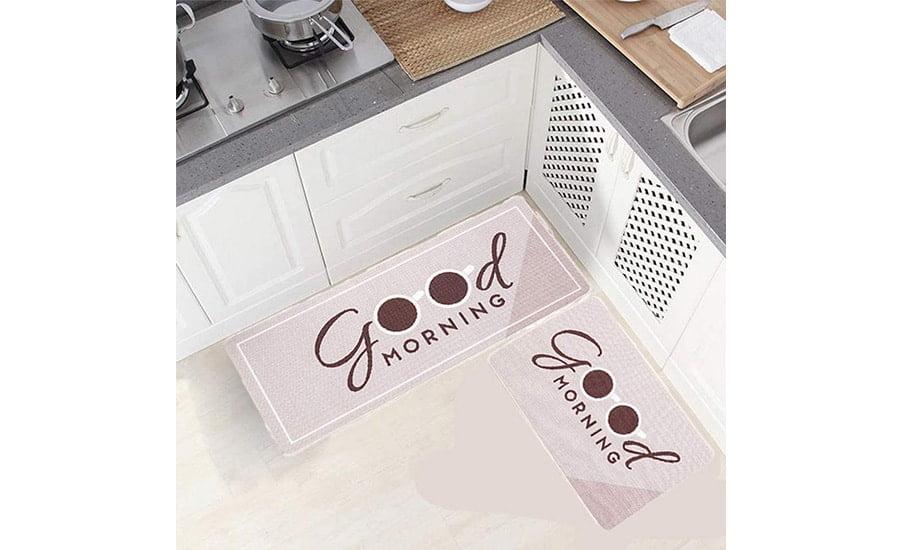 فرش ماشینی طرح آشپزخانه مجموعه 2 سایز کد K0009 زمینه نسکافه ای