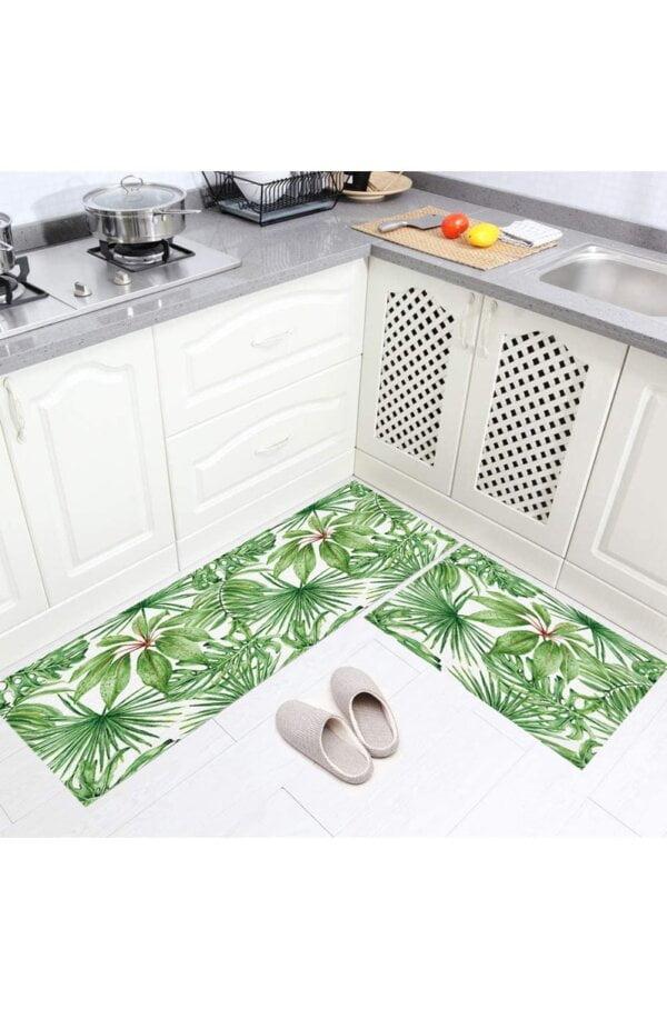 فرش ماشینی آشپزخانه کد K0020 زمینه سبز
