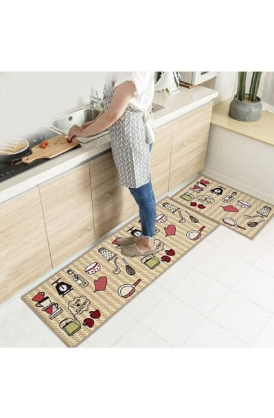 فرش ماشینی آشپزخانه کد K0011 زمینه کرم , قهوه ای